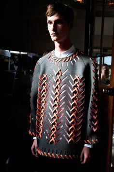 Fabric manipulation - love this effect. (special) Henrik Vibskov SS15 Backstage.