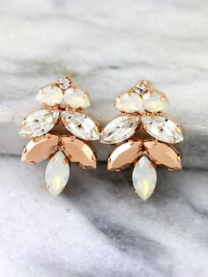 Check out this item in my Etsy shop https://www.etsy.com/il-en/listing/465673585/rose-gold-earrings-bridal-earrings