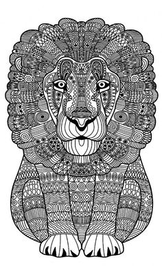 Coloring Pages Zentangle Lions Print Mandalas Animals Colouring Lion Printable