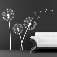 Dandelion sticker - Sticker Wall decal - Home decor - vinyl sticker this on turquoise wall