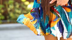 Loving these bright pleats and fringed details. Spring Skirts, Tie Dye Skirt, Bright, Style Inspiration, Celebrities, Fashion, Cinco De Mayo, Moda, Celebs