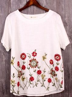 677e48b9a9b00 Women Plus Size High Quality Short Sleeve Cotton Floral Embroidered Blouse  Tops