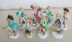 Vintage Polychrome Painted Porcelain 8 Figurines Monkey Band Orchestra Damages | eBay