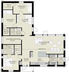 fiskarhedenvillan L Shaped House Plans, Sims Building, Bungalow, Happy House, House Blueprints, Level Homes, Plan Design, House Floor Plans, Future House