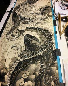 Japanese Dragon Tattoos, Japanese Tattoo Art, Japanese Sleeve Tattoos, Japanese Art, Dragon Tattoo Art, Dragon Art, Dragons, Dragon Sketch, Art Asiatique
