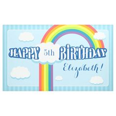Shop Any Age Rainbow Cloud Birthday Banner created by CustomizedStuff. Rainbow Cloud, Outdoor Banners, Word Out, Happy Birthday Banners, Outdoor Events, Birthdays, How To Get, Clouds, Age