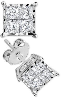 TruMiracle Princess-Cut Diamond Stud Earrings (1 ct. t.w.) in 14k White Gold or 14k Gold