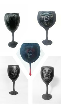 Etsy Handmade, Handmade Crafts, Handmade Items, Glitter Wine Glasses, Skulls And Roses, Halloween Gifts, Handmade Decorations, Craft Stores, Pagan