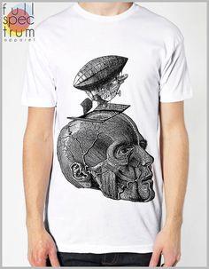 aa5acacecd1 Steampunk Clothing T Shirt - Thoughts Take Flight - Steam punk Balloon  Zeppelin Head Skull Science American Apparel Tee Shirt