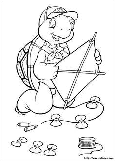 franklin the turtle coloring pages | COLORIAGE - Franklin fabrique un cerf-volant