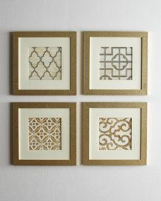 Geometric Prints--pretty expensive on this website ($295). DIY: Four frames spray painted gold with gold geometric scrapbook paper inside.