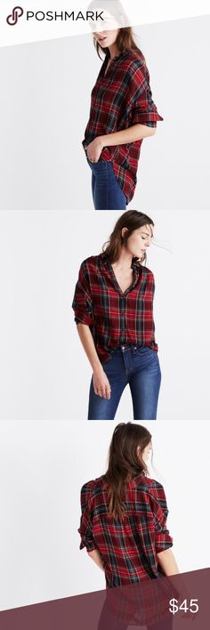 Madewell Central Long-Sleeve Shirt in Tartan Plaid A long-sleeved version of Madewell's slightly oversized shirt, in a softer silhouette with a feminine feel. Made of a special cozy weave, the viscose/wool blend is both soft and sophisticated. Dry clean. Comes in great condition from a pet-free, smoke-free home. Madewell Tops