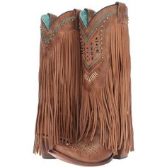 Corral Boots C2910 (Tan/Multicolor) Women's Boots (£295) ❤ liked on Polyvore featuring shoes, boots, knee-high boots, knee boots, knee high cowboy boots, fringe western boots, knee-high fringe boots and fringe cowboy boots