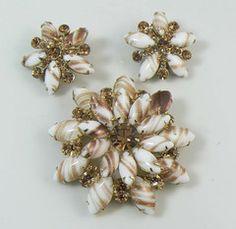 Juliana D & E Gold Fluss Topaz Rhinestone Brooch Earring Verified Book Piece Set - Vintage Lane Jewelry - 1