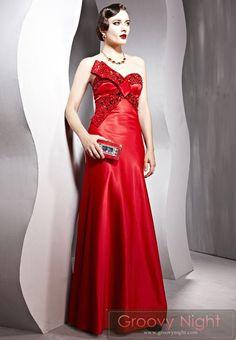 近代的なデザイン 鮮やかなレッドロングドレス♪ - ロングドレス・パーティードレスはGN 演奏会や結婚式に大活躍!