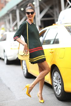 NYFW Street Style Day 6: Giovanna Battaglia's primary hues were perfectly matched to NYC's yellow cabs.