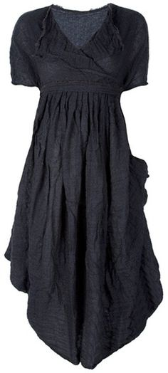 Grey wool dress from Daniela Gregis featuring a cowl neckline, short sleeves, a pleated design and gathering.