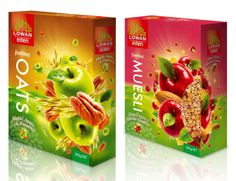 Lowan Eden Muesli Cereal by The Grain Creative Cereal Packaging, Fruit Packaging, Packaging Design, Packaging Ideas, Kids Cereal, Cereal Bars, Food Design, Creative Design, Design Ideas