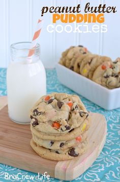 Peanut Butter Pudding Cookies. Need to try these and sub pretzels for the banana chips