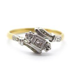 Vintage Art Deco 18 Carat Gold & Platinum Diamond Engagement Ring | Clarice Jewellery | Vintage Jewellery | Vintage Costume Jewellery