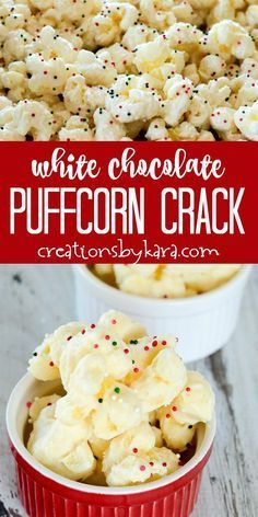 Two ingredient White Chocolate Puffcorn Crack is simple and melt in your mouth delicious! Everyone loves this puffcorn made with white almond bark. #puffcorn #whitechocolatepuffcorn #christmaspuffcorn #creationsbykara #neighborgift Snack Mix Recipes, Popcorn Recipes, Candy Recipes, Holiday Recipes, Cooking Recipes, Dessert Recipes, Snack Mixes, Holiday Treats, Popcorn Snacks