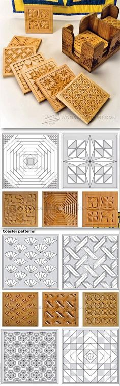 Coasters - Chip Carving Patterns - Wood Carving Patterns and Techniques | WoodArchivist.com | Wood Carving | Pinterest