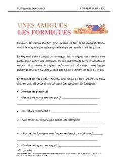 Preguntes explicites Catalan Language, School Timetable, English Grammar, Comprehension, Valencia, Natural Hair Styles, Study, Teaching, Reading Comprehension