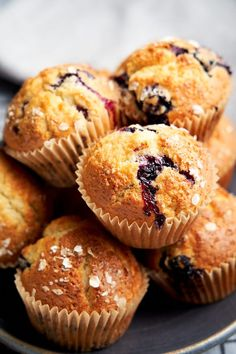 These homemade skinny blueberry muffins are wonderfully soft, filled with fresh blueberries, and have irresistibly crunchy tops. Made with low fat Greek yogurt and skim milk, they're a healthier alternative to the low fat muffins that you buy from the grocery store. Get the recipe on www.theworktop.com Low Fat Blueberry Muffins, Low Fat Muffins, Blue Berry Muffins, Mini Breakfast Quiche, Breakfast For A Crowd, Breakfast Tray, Easy Breakfast Casserole Recipes, Brunch Recipes, Healthy Muffin Recipes