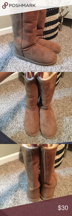 Fur lined boots Size 10 knock off uggs. Super cute, just like the real ones. And never worn, so great condition! Grandma bought them for herself and changed her mind, so make an offer!  UGG Shoes