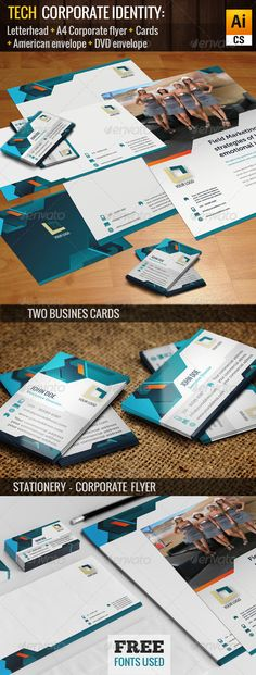 """Tech Corporate Identity  #GraphicRiver         Hello! This is a """"Tech Corporate Identity"""" Pack, an striking and colorful presentation, with a business / informative style.  The Pack contains:   A4 LETTERHEAD (210X 297 mm + 3 mm bleed)  AMERICAN SIZE ENVELOPE (220×110 mm + 3 mm bleed)  HORIZONTAL AND VERTICAL CARDS (85×50 mm + 3 mm bleed)  CORPORATE FLYER (210X 297 mm + 3 mm bleed)  DVD ENVELOPE (120×120 mm + 3 mm bleed  All files are Layered, 300 ppp, CMYK, ready print. FREE FONTS USED…"""