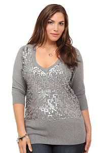 Grey Paillette V-Neck Sweater | Shop All Fashion