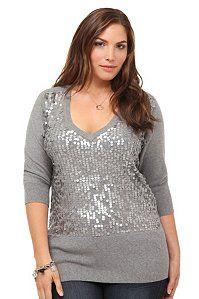 Grey Paillette V-Neck Sweater | Shop All New Arrivals