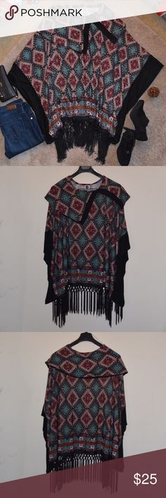 """✨HP✨ Womens's MULTICOLOR Poncho Fringe Sweater This is an Aztec Muticolor Poncho Sweater. Boutique-style. One Size, L fits best. Made of 94%Polyester, 6% Spandex. Hand or machine wash. Made in U.S.A. NEW Without TAGS. From smoke and pet free home. Approx MEASUREMENTS  Length: 27"""". Width: 48"""". J&M Clothing Sweaters Shrugs & Ponchos"""