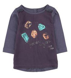 Tumble 'n Dry lang model t-shirt, model Clim, met print voorzien van een subtiele glitter aan de voorzijde. Longsleeve in twee stofkwaliteiten en voorzien van ronde hals.