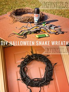 DIY Halloween Snake Wreath - maybe use the snakes and a burlap wreath. But I might end up single and homeless. Halloween Fright Night, Holidays Halloween, Spooky Halloween, Halloween Treats, Halloween Party, Holiday Wreaths, Holiday Crafts, Holiday Fun, Reptile Party