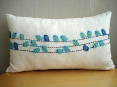 Birds On Wires Pillow Sukan / Decorative Pillows Baby Bedding Throw Pillows Blue Animal Birds Pillow Covers Accent Pillows Nursery Decor. via Etsy. Sewing Pillows, Diy Pillows, Linen Pillows, Decorative Pillows, Cushions, Throw Pillows, Accent Pillows, Lumbar Pillow, Pillow Ideas