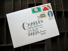 Awesome block lettering.  All mail art envelopes aren't doodles, drawings, or decoupage.  Custom calligraphy, typography and designer lettering adds it's own distinctive air to snail mail envies.