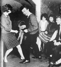Gerry Marsden and Cilla Black on the dance floor at the cavern club in Liverpool in the early sixties  PICTURE: GORDON WHITING