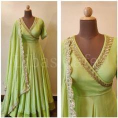 Designer Anarkali Gown In Pista Color Indian Fashion Dresses, Indian Gowns Dresses, Dress Indian Style, Indian Designer Outfits, Indian Long Gowns, Fashion Clothes, Women's Fashion, Fashion Tips, Designer Anarkali Dresses