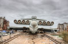 "Russian ""Lun""-class ekranoplan (ground effect aircraft) sitting rusting in a Caspian Sea shipyard.  - Imgur"
