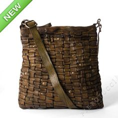 Campomaggi Cross Body bag with decorative leather weave pattern