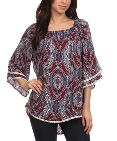 Another great find on #zulily! Lady's World Blue & Red Abstract Ruffle-Sleeve Tunic - Plus Too by Lady's World #zulilyfinds