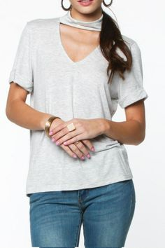 Mock neck comfy grey tee with rolled sleeves. Key-Hole Grey Tee by Everly. Clothing - Tops - Short Sleeve Texas