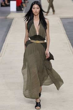 Sheer khaki dress by Chloé | Spring 2014 Ready-to-Wear Collection | Style.com