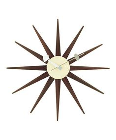 Love this Walnut George Nelson Sunburst Clock on #zulily! #zulilyfinds