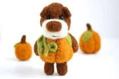 made to order  Felted pumpkin bear by MistrSandman on Etsy So.. Cute