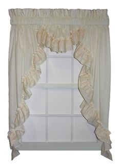 Country Swag Curtains - Victoria 3 Piece Ruffled swags & Valance Set. Natural color country style curtain with lace accented ruffle