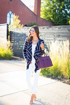 monogram necklace, ear jackets, stripe cardigan, stripe sweater, fall fashion, fall style, fall outfit ideas, fall stripes, ray ban mirror aviators, gigi new york satchel, cute fall outfit // a southern drawl