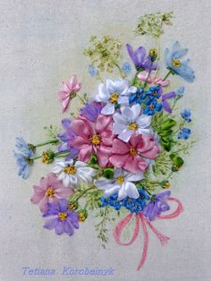 Bouquet of Cosmo  picture made of Silk by SilkRibbonembroidery, €45.00