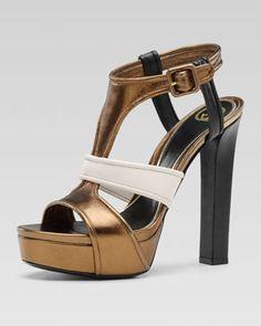 Gucci - Andie Multicolor Suede Platform Sandal, Bronze/Mystic White/Black $895.00